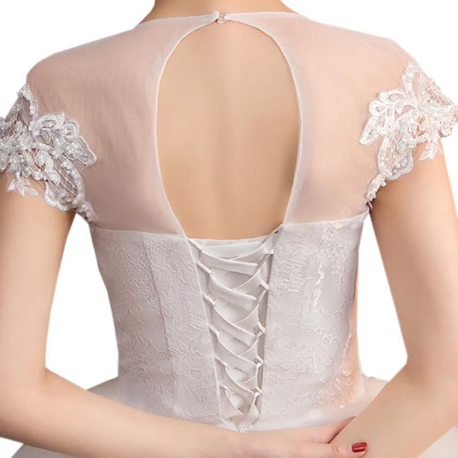 Lace Applique Bridal Wedding Gown Short Sleeve Corset Bodice Back