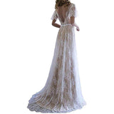 Women's Lace Beach Wedding Gowns Short Sleeve Bohemian Wedding Dresses