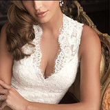 Lace Vintage Bridal Dresses Sleeveless Deep V Neck Wedding Gown