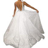 Bridal Wedding Dresses A Line V Neck Strap Cocktail Party Gowns