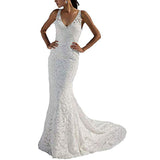 Women's Mermaid Lace Wedding Gown Sleeveless Long Bridal Gowns