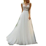 Women's Lace Wedding Gown for Bride A Line Beach Bridal Dress