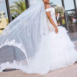 Women's Lace Mermaid Wedding Dresses Off The Shoulder Bridal Gowns