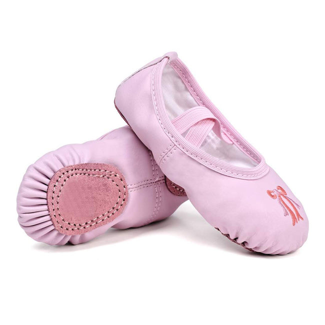 Leather Dance Shoes Ballet Yoga Shoes For Girls Women PU Flat Heel