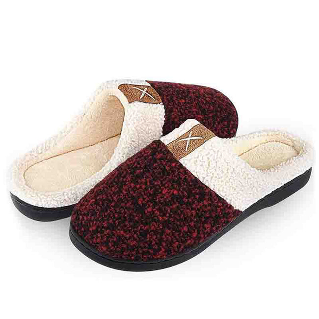 Womens Mens Slippers Fuzzy Plush Lined Memory Foam Anti-Skid Sole