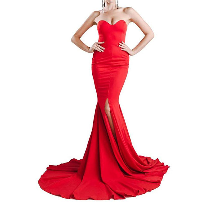 Sexy Mermaid Wedding Evening Party Dress Strapless Slit Front