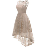 Vintage Lace Cocktail Dress Formal High Low Sleeveless Swing