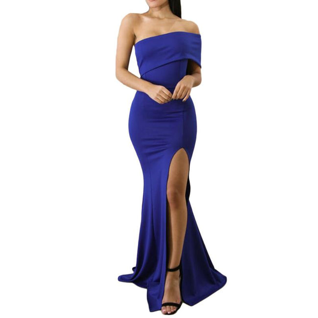 Women's Party Prom Dress Off The Shoulder Mermaid One Sleeve