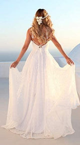 Lace Wedding Dress for Women Long Backless Prom Party Dresses
