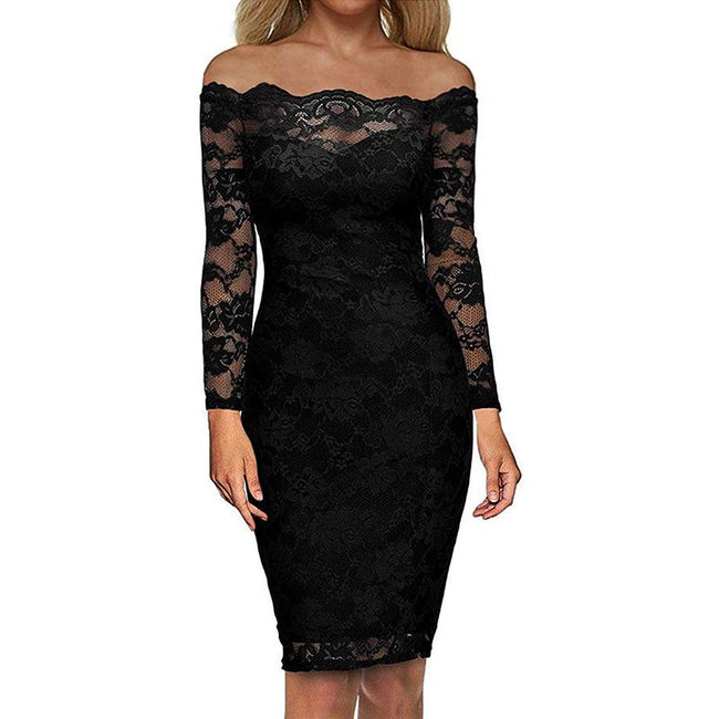 Floral Lace Party Cocktail short dress Bodycon Off The Shoulder