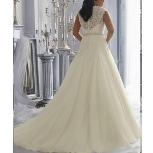 Lace A Line Wedding Dress Sleeveless V Neck Bridal Wedding Gown