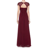 Elegant Evening Dress Cap Sleeve Lace Neckline Ruched Bust Floor Length