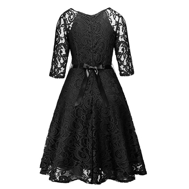Full Lace Bridesmaid Dress Long Sleeve A Line Wedding Party Mid Dress