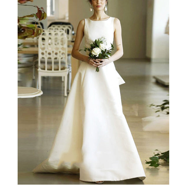 Wedding Dresses Sleeveless Boat Neck A Line Bridal Wedding Gown