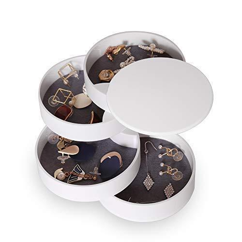 Jewelry Organizer Box 4-Layer Rotating Accessory Storage Jewelry Box