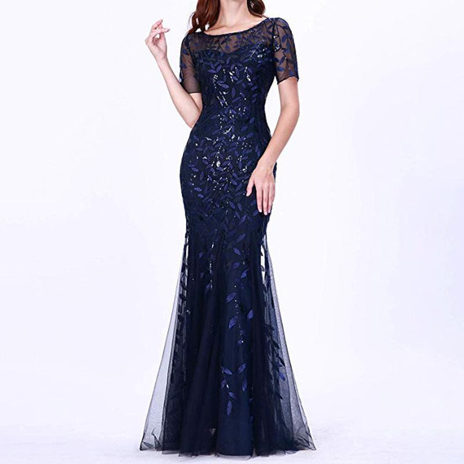 Women's Illusion Evening Dresses Mermaid Sequins Short Sleeve