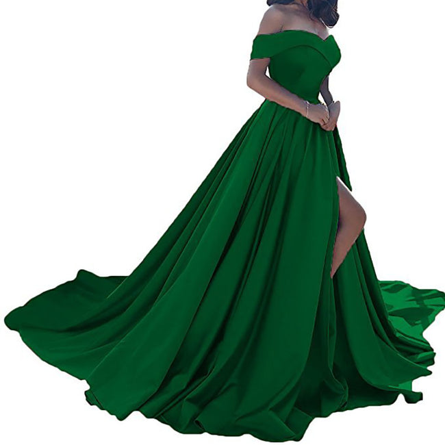 Slit Wedding Party Dress For Women Formal Evening Gown Long Prom Gown