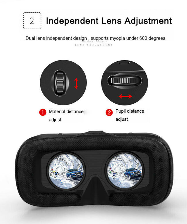 VR Shinecon 6.0 Virtual Reality 3D Glasses with Headset for Samsung LG iPhone within 3.5-6.2 Inch