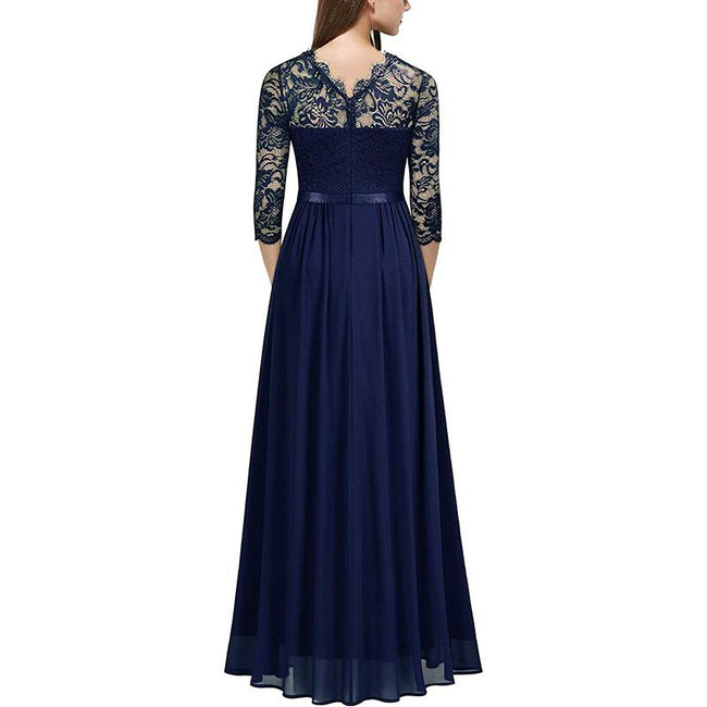Floral Lace Wedding Bridesmaid Dress Formal Long Sleeve Maxi Dress