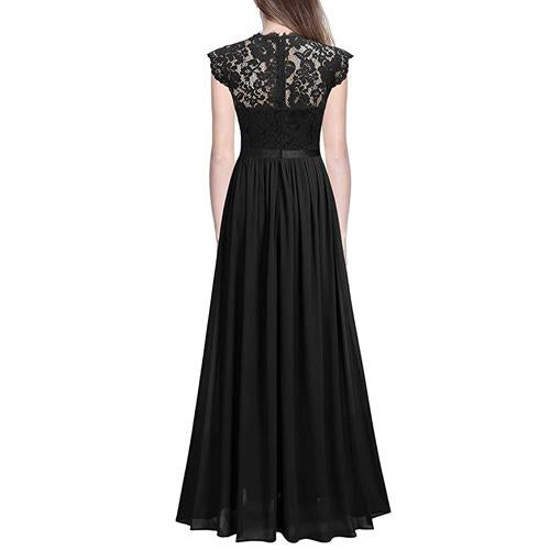 Floral Lace Evening Party Maxi Dress Formal Long A Line Floor Length
