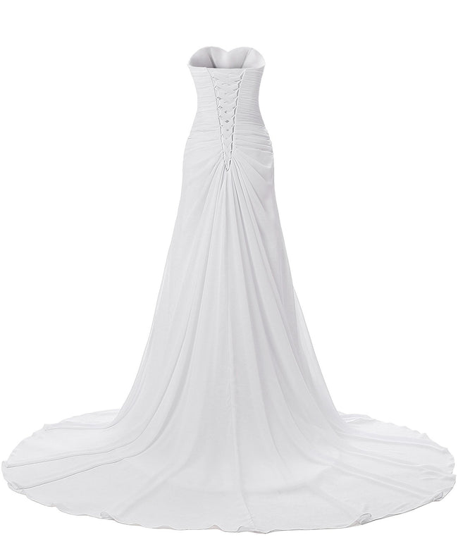 Women Beach Long Wedding Gown Beading Waist Pleated Wedding Dress