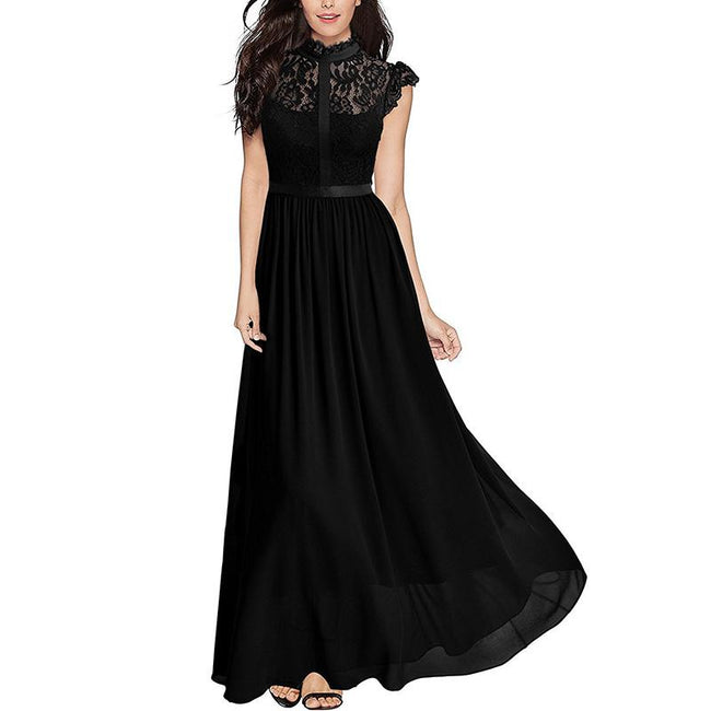 Floral Lace Evening Party Dresses Formal Cap Sleeves Maxi Dresses