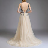 A Line Bridal Dress Wedding Gown Sequins Evening Gown High Split Prom Gown