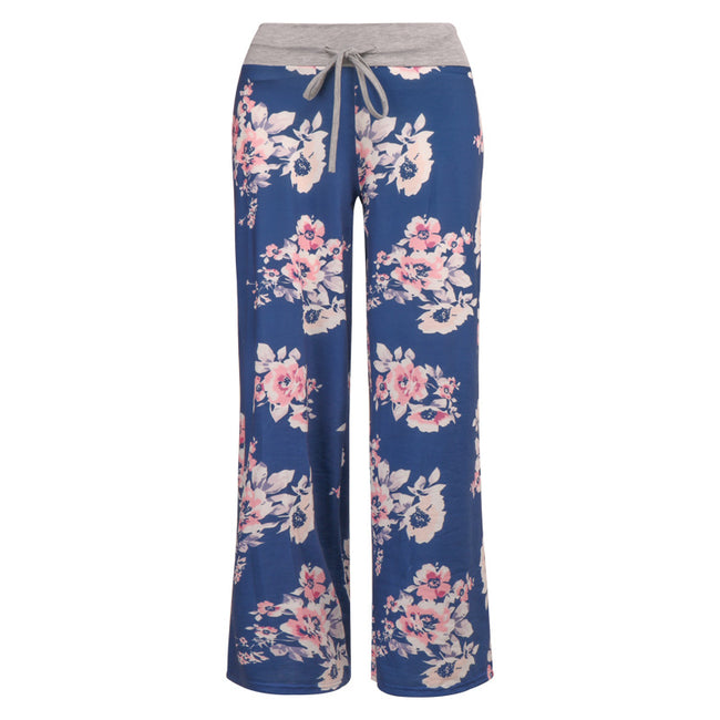 Women's Casual Pajama Pants Long Trouses Wide Leg Drawstring
