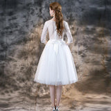 Lace Bridal Wedding Dress Short Wedding Gown With Long Sleeves