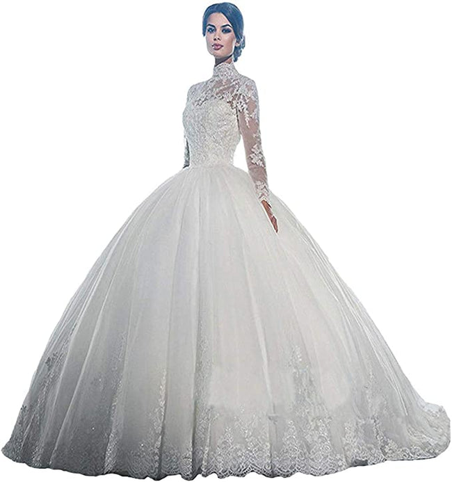 Lace Bridal Gowns For Bride Princess Long Sleeves Wedding Dress