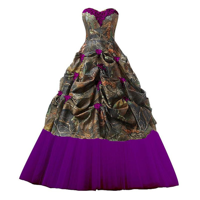 Camo Wedding Gown Bridal Dress Plus Size Strapless Quinceanera Dress