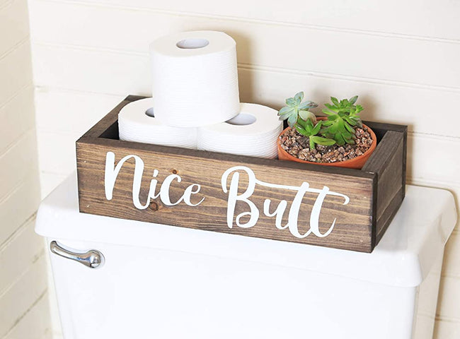 Handmade Toilet Paper Holder Letter Printed Bathroom Decor Box