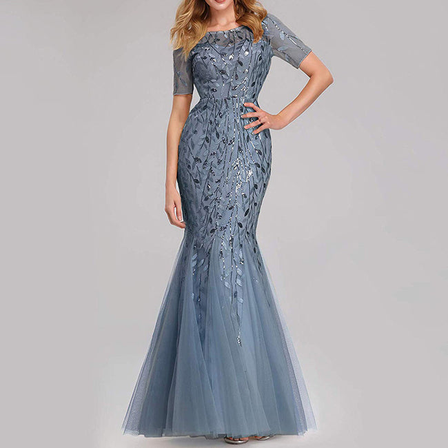 Elegant Sequins Evening Dresses With Sleeves Trumpet Floor Length