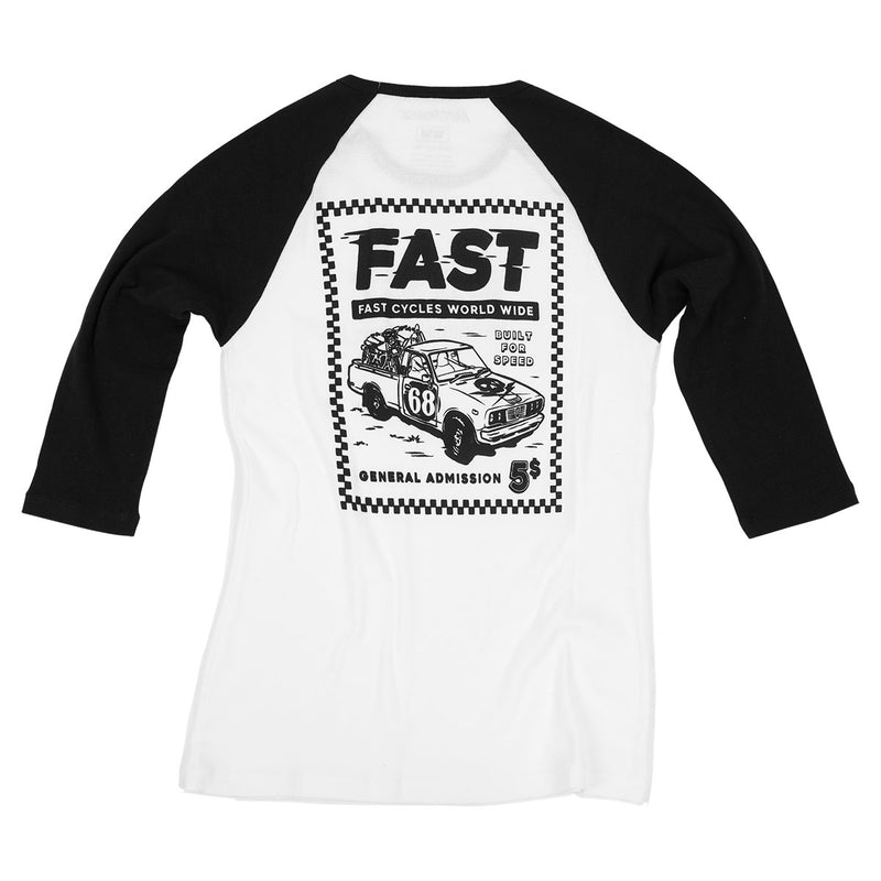 Fasthouse - Ticket Raglan Womens Tee - White/Black