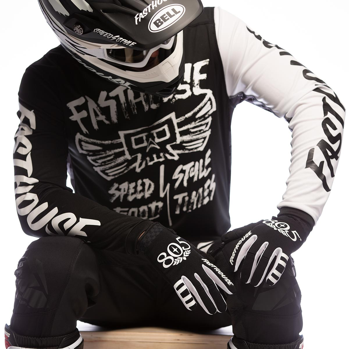 Tribe Jersey - Black; 805 Speed Style Gloves, Raven Pants