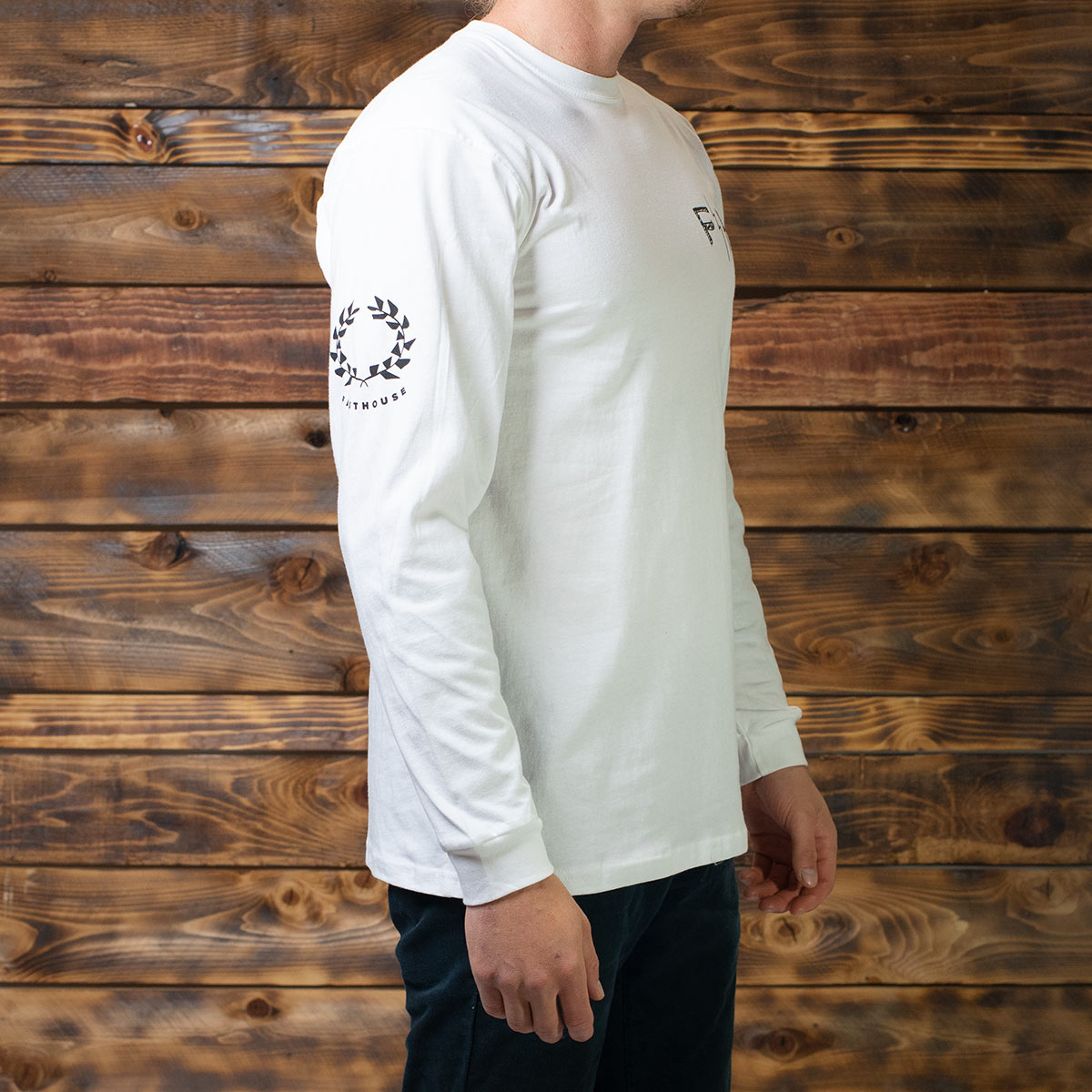 Victory Wreath LS Tee - White