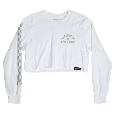 Star LS Women's Crop Tee - White