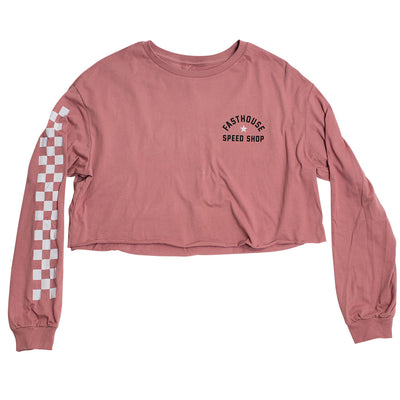 Star Long Sleeve Womens Crop Tee - Heather Mauve