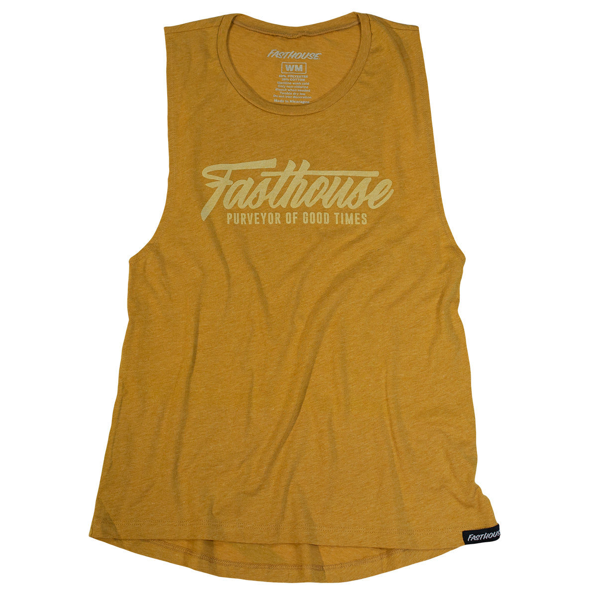 Fast Script Womens Muscle Tank - Vintage Gold