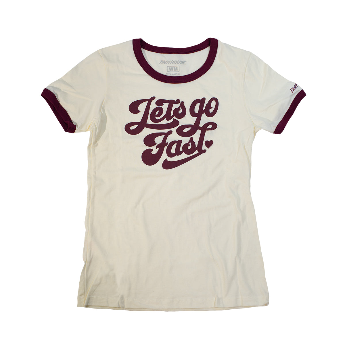 Let's Go Womens Ringer Tee - Natural/Maroon