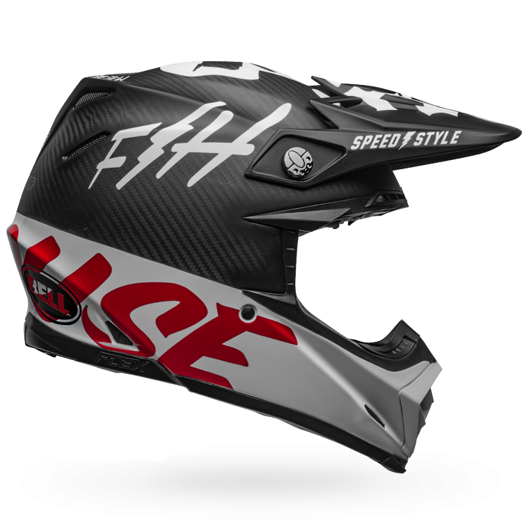Fasthouse - Bell Fast Tribe Moto 9 Helmet - Black/White/Red