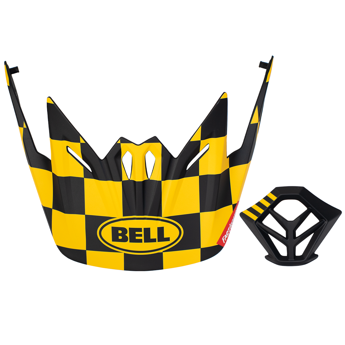 Bell Checkers MTB Visor + Mouthpiece Kit - Yellow/Black Checkers