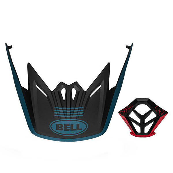 Bell Full-9 4-Stripe Visor + Mouthpiece Kit - Matte Blue/Black