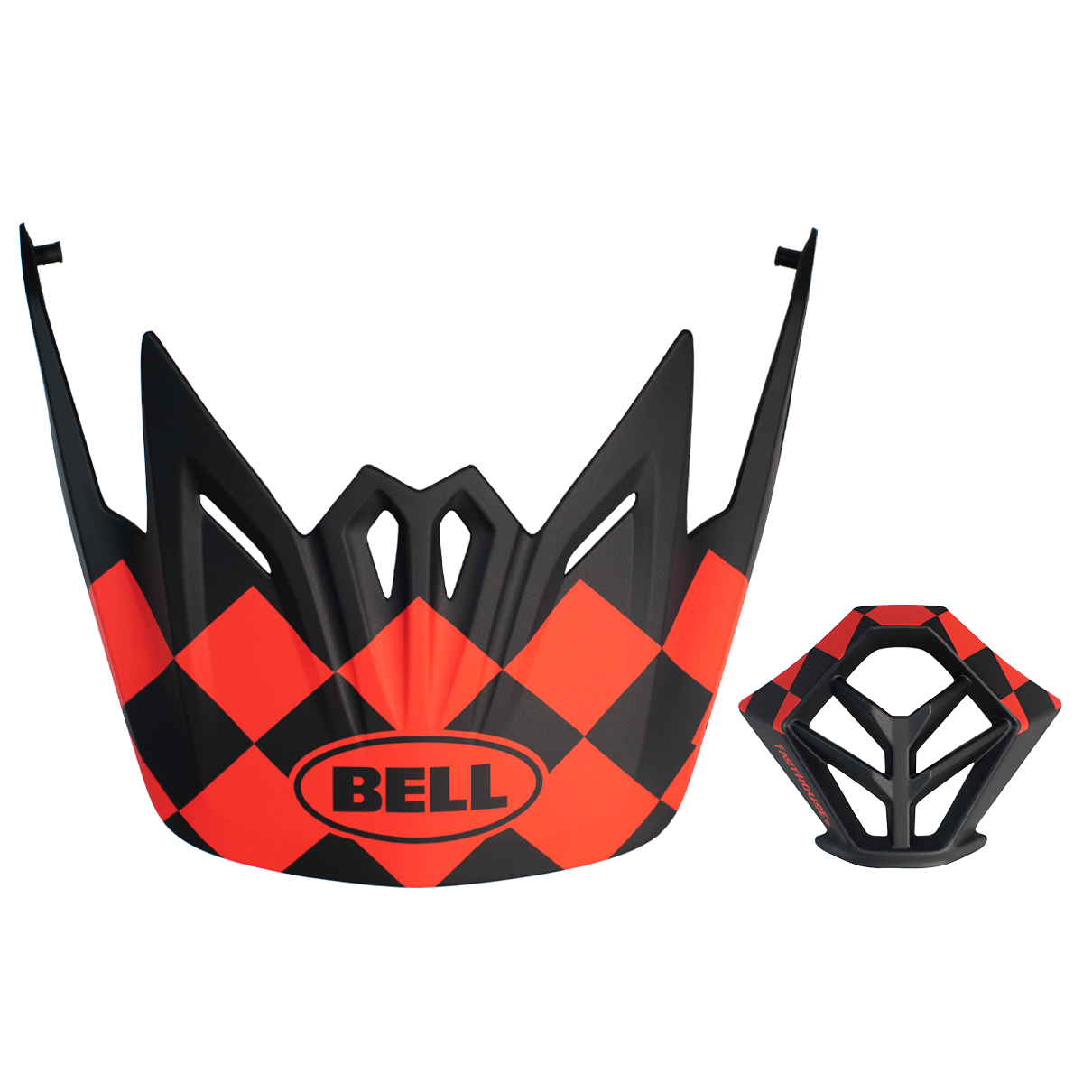 Bell Full-9 Checkers Visor + Mouthpiece Kit - Matte Red/Black