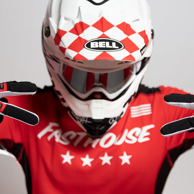 Fasthouse - Bell Checkers White/Red Moto 9 Visor MP Kit
