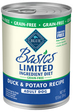 Load image into Gallery viewer, Blue Buffalo Basics Limited Ingredient Diet Grain Free Adult Duck & Potato Canned Dog Food
