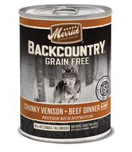 Load image into Gallery viewer, Merrick Backcountry Grain Free Chunky Venison & Beef Canned Dog Food
