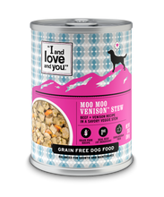 Load image into Gallery viewer, I And Love And You Grain Free Moo Moo Venison Stew Canned Dog Food