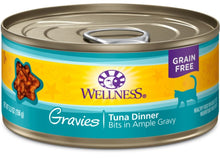 Load image into Gallery viewer, Wellness Natural Grain Free Gravies Tuna Dinner Canned Cat Food