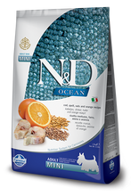 Load image into Gallery viewer, Farmina Ocean N&D Natural & Delicious Ancestral Grain Mini Adult Cod, Spelt, Oats & Orange Dry Dog Food